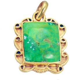 Riyo Mesmeric Turquoise Pendant Yellow Gold Turquoise Copper Pendant
