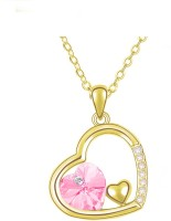 Eterno Gold Plated Austrian Crystal Heart Pendant With Chain - Light Pink Rhodium Plated Crystal Alloy Pendant