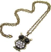 Young & Forever Venetian Owl Pendant Rhinestone Embellished Long Chain Bronze NAK Alloy, Crystal
