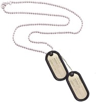 Men Style NEW Men's Silver Black Army Style 2pcs Name Dog Tags Stainless Steel