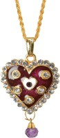 Memoir Maroon Red Meena And Kundan Work Heartshape Yellow Gold Cubic Zirconia Brass Pendant