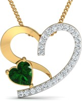 Damor The Sublime 18kt Diamond, Emerald Yellow Gold Pendant