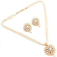 Jewar Mandi Fashion Jewellery Rhodium Cubic Zirconia Alloy Pendant Set