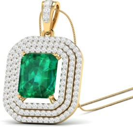 WearYourShine by PCJ The Benita 18kt Diamond, Emerald Yellow Gold Pendant