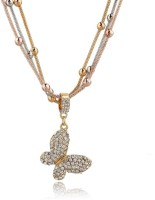 Wearyourfashion Butterfly 18K Rose Gold, 18K Yellow Gold, 18K White Gold Crystal Alloy Pendant