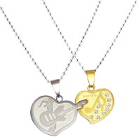 Men Style Couple His And Her Violin Heart (Music Note) Couple Love You Heart Necklance For Gift Stainless Steel Pendant Set