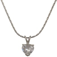 Fine Jewellers Fine - 03 CZ Diamond Heart Pendant With Chain Rhodium Cubic Zirconia Brass Pendant