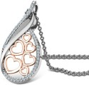 CaratLane Quixotic Heart Gold 18K White Gold, 18K Rose Gold Plated Pendant
