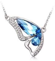 GirlZ! Sky Blue Crystal Butterfly White Gold Plated Alloy Pendant