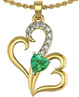 Suvarnadeep Yellow Gold Plated Cubic Zirconia Silver Pendant