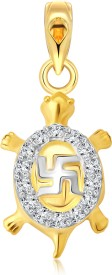 Vighnaharta Swastik Kachva 18K Yellow Gold Cubic Zirconia Alloy Pendant