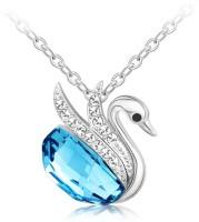 Swarovski Elements Blue Austria Crystal Swan For Women White Gold Swarovski Crystal Metal Pendant