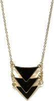 ToniQ Gold And Black Matinee NA Plated Metal Pendant