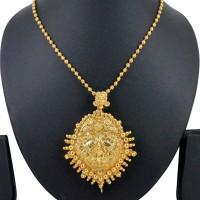 Spargz Traditional Laxmi Spiritual Yellow Gold Brass Pendant