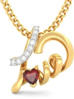 BlueStone Hearty Love 18kt Diamond, Garnet Yellow Gold Pendant