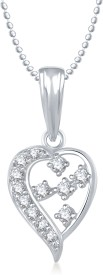 Meenaz Heart Pendant Locket With Chain For Women Love Valentine Gifts Brass Cubic Zirconia, Diamond Alloy Pendant