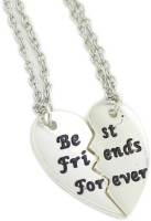 Antique Best Friends Forever 2 Separate Piece + 2 Velvet Pouch Friendship Gift Silver Plated Metal Pendant Set