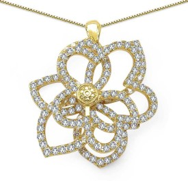 Johareez Fashion Floral Yellow Gold Cubic Zirconia Brass Pendant