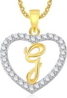 Meenaz G Alphabet Heart Pendant With Chain Jewellery Brass Cubic Zirconia, Crystal Metal Pendant