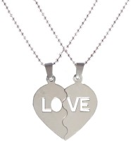 Men Style Look Trendy Couple Heart Lockets With Chain Stainless Steel Pendant Set