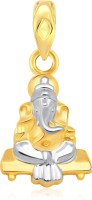 Classic Sitting Ganesha Gold And Rhodium Plated Pendant - [CJ1003PG] Yellow Gold 18K Cubic Zirconia Alloy Pendant