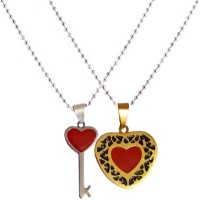 Men Style Couple His And Her Heart Key Shape Necklaces For Valentine's Day Gift Stainless Steel Pendant Set