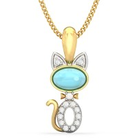 BlueStone The Tabby Cat For Kids 18kt Diamond, Topaz Yellow Gold Pendant