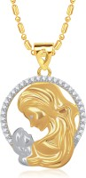VK Jewels Mom'S Love 18K Yellow Gold Plated Cubic Zirconia Alloy Pendant