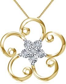 Kirati Flower Shape 14K Yellow Gold NAK Cubic Zirconia Sterling Silver Pendant