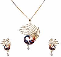 Zaisch Dazzling Peacok Enamel Plated Alloy Pendant Set