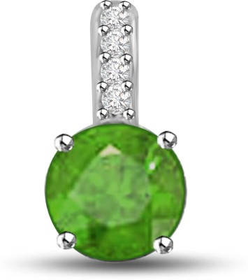 Surat Diamonds Surat Diamond 14K Diamond, Emerald White Gold Pendant (Green)