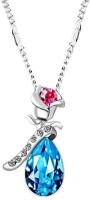 Caratcube Rose And Angel Tear Shape White Gold Plated Crystal Alloy Pendant