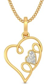 BlueStone Loving Heart 14kt Diamond Yellow Gold Pendant