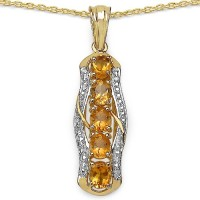 Johareez 1.75CTW Genuine Citrine 14K Yellow Gold Plated .925 Sterling Silver Pendant Yellow Gold Citrine Sterling Silver Pendant