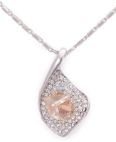 Golden Peacock Orange & Silver-Toned Princess Necklace Rhodium Crystal Alloy Pendant