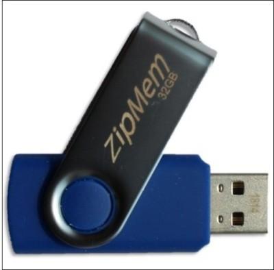 Zipmem Metallic Cover 32 GB  Pen Drive (Blue)