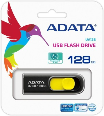 Adata UV128 High-Speed USB 3.0 Capless 128 GB  Pen Drive (Yellow)