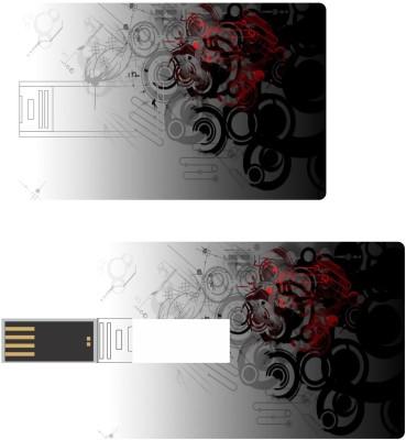 Print Shapes Black & red abstract circles Credit Card Shape