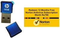 HP V165w With Norton Antivirus 12 Month Subscription 16 GB  Pen Drive (Blue)