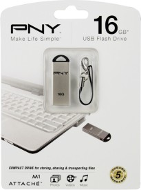 PNY USB Flash Drive M1 Attache 16GB 16 GB  Pen Drive - Silver
