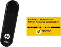 HP V100 W 32 GB Pendrive With FREE Norton Anti-virus 12 Month Subscription (1 PC 1 Year) (Black)