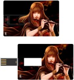 Print Shapes Girl with flute Credit Card Shape