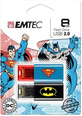 EMTEC Batman Superman DUO-combo Pack 8 GB  Pen Drive (Blue)