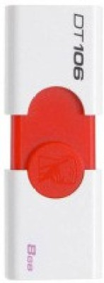 Kingston Data Traveler 106 8 GB  Pen Drive (White, Red)