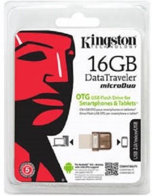 Kingston Data Traveler Micro Duo 16 GB  Pen Drive (Brown)