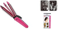 Style Maniac Combo Of 3 In 1 Multifunction Perfect Curler , Crimper & Straightener And Complete Manicure Pedicure Tools Kit And Get A Hairstyle Booklet Personal Care Appliance Combo (Hair Straightener, Clipper)
