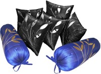 Zikrak Exim Self Design Bolster (Black, Blue, 2 Bolster And 5 Cushion Covers)