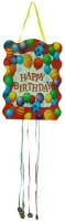 Smartcraft Happy Birthday -Balloons Pull String Pinata (Multicolor, Pack Of 1)