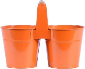 Mango Orchard Twin Bucket With Wooden Grip (Orange) Plant Container