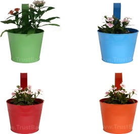 TrustBasket Set of 4 - Single plant railing planters Plant Container